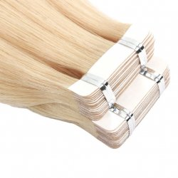 #12 Donkerblond, 60 cm, Double drawn Tape Extensions